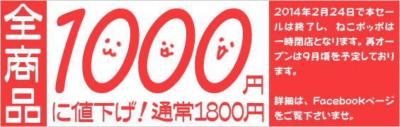 ねこポッポ1000円セール